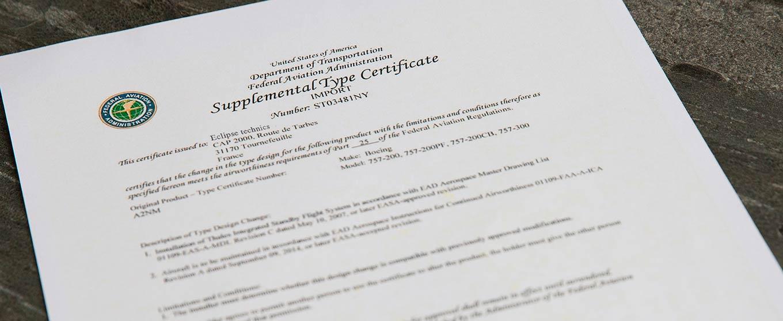 Eclipse Technics Certification EASA FAA